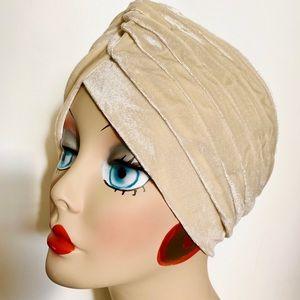 Soft Cream Velvet Pinup Turban cloche hat glamour